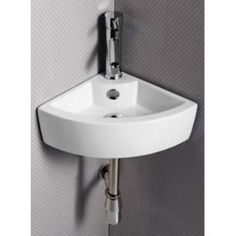 Elanti Wall Mounted Corner Bathroom Sink In White