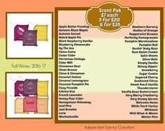 Current list of scent packs.  These are what goes in the buddies  https://mckinney.scentsy.us/