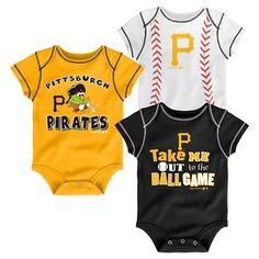 Pittsburgh Pirates Boys' 3pk Bodysuit Crawlers 0-3 M, Multicolored