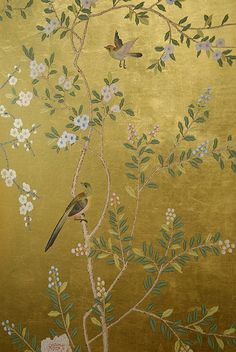 chinoiserie on gold metallic background