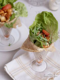 pretty way to serve salad, in a crepe lined parfait glass