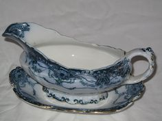 "Beautiful Henry Alcock & sons ""Beverly"" Flow Blue Transferware Gravy Boat And Plate.. £20.00, via Etsy."