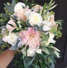 Dahlia, garden rose and peony bouquet #bridalbouquet #floralsbyjenny #dahlias #peonies #gardenroses