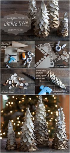 DIY Gold Ombre Trees for Your Holiday Decorations. These ombre trees are made with three shades of metallic paper. They are simple to make with a few tools and will dress up your Christmas decor in a handcrafted way.