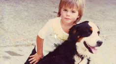 Young Stan Wawrinka and his dog.