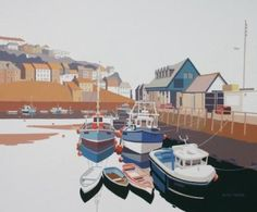 Alan TYERS - Mevagissey Harbour - Paintings of holiday seaside towns in Cornwall… Seaside Art, British Seaside, Seaside Towns, Towns In Cornwall, Water Water, Great British, Fishing Boats, Gouache, Mixed Media