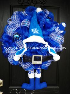 Uk Santa Wreath..Kentucky Basketball Santa.. Search for Posh Creations Online.. On Facebook or visit me at www.poshcreationsonline.com