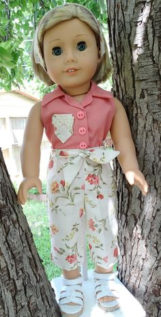 1950's Style Pedal Pusher Pants and Headband in a vintage floral fabric and pink Shirt for AG Maryellen by Designed4Dolls on Etsy   $19.95