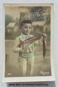 Vintage French Postcard - Young Boy Holding a Fish (Poisson D'Avril / April 1st) by ChicEtChoc on Etsy
