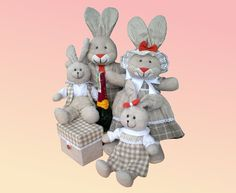 Rabbit family Organic toys linen hypoallergenic by RockysFriends