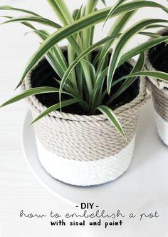 schereleimpapier: DIY Tutorial Plastiktopf-Upcycling | Mit dieser Do it yourself Anleitung zeige ich euch, wie ihr einen schlichten Pflanztopf aus Plastik mit etwas Sisal Seil und Farbe ganz einfach verschönern könnt und somit für eure Pflanzen ein schickes neues Zuhause schafft | Idee | Anleitung| nachhaltig | Basteln | Deko | selbstgemachte Dekoration für Balkon, Garten und Wohnung | Plants | how to embellish a pot with sisal and paint |