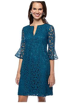 Adrianna Papell Split Neck Lace Dress #belk #dresswear Prom Dresses With Sleeves, Tea Length Dresses, African Fashion Dresses, African Dress, Batik Dress, Lace Dress, English Dress, Bodycon Outfits, Short Gowns