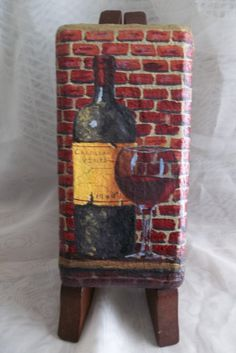Handpainted Wine Bottle Glass On Brick Paver by ArtistTooStudios Painted Pavers, Painted Rocks, Hand Painted, Vintage Wine, Vintage Room, Vintage Ideas, Vintage Stuff, Brick Crafts, Stone Crafts