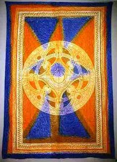 """Blue and Orange Celtic Tie Dye Tapestry - $24.99  These amazingly bright and vibrant colors on this tapestry make this a welcome addition to any room.  Use on a couch, bed, or as a wall hanging.  Single size, measures approx. 60""""x90"""". Looks great in a dorm room too."""