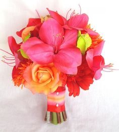 tropical amaryllis, spider mum and rose bouquet
