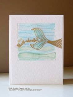 Chrissy will have your brain swimming with ideas for CTS this week! Nautical Cards, Nautical Theme, Watercolor Birthday Cards, Mermaid Party Decorations, Beach Cards, Girl Birthday Cards, Rainbow Card, Fish Crafts, Birthday Design