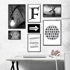 Printable photo set of 7 prints Black and white abstract wall | Etsy