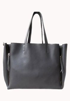 Vicky Zipper Leather Tote Bag Grey