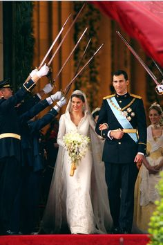 Prince Felipe of Spain and Princess Letiza tied the knot, complete with sword salute, in May 2004. - MarieClaire.com