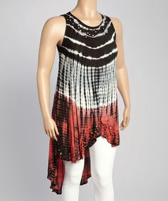 Look what I found on #zulily! Black & Coral Abstract Hi-Low Tunic - Plus #zulilyfinds