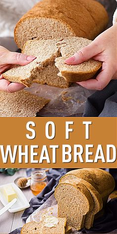 Soft Whole Wheat Bread - Homemade Sandwich Bread Healthy Bread Recipes, Best Bread Recipe, Cooking Recipes, Bread Sandwich Recipes, Whole Wheat Honey Bread Recipe, Wheat Flour Bread Recipe, Amish Bread Recipes, Brown Bread Recipe, Homemade Sandwich Bread