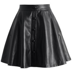 Chicwish Nappa Faux Leather A-line Skirt in Black ($42) ❤ liked on Polyvore featuring skirts, black, bottoms, vegan leather skirt, a line skirt, punk skirt, black skirt and black knee length skirt