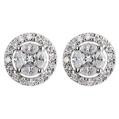 Vintage 18ct white gold diamond earrings D708002