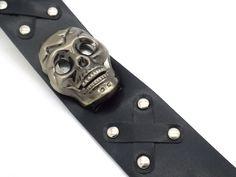 Motorcycle Skull Watch Men's Quartz Faux Leather Black Buckle W Flip-up Head #Unbranded #Motorcycle