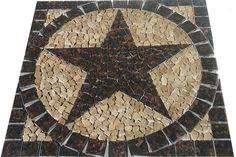 24 S Tan Brown Granite Texas Star Mosaic Medallion Tile Marble Bath Backsplash Tan Brown Granite, Marble Bath, Texas Star, Backsplash, Home Improvement, Stars, Mosaics, Building, Wood