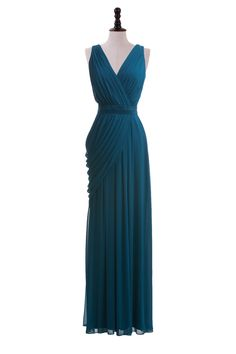 Draped V-Neck Chiffon Gown