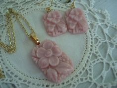 Vintage Antique 1920's Opaque Pink Glass Gold Earrings Matching Necklace Bohemian Gablonz Floral Angelskin Demi Parure