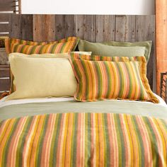 Sedona Bedding. Punch up a finely textured matelassé coverlet and shams with a bold, sunset-stripe duvet cover and shams. Tuck ivory hemstitch sheets underneath. Find it ...at Mary's