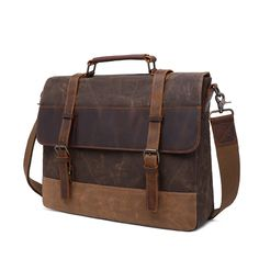 Waxed canvas messenger bag with leather trim and space for a laptop. Water-resistant and functional. Dimensions: x x Leather Products, Canvas Messenger Bag, Waxed Canvas, Briefcase, Leather Bag, Satchel, Laptop, Space, Water