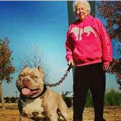 "I love that her sweater says ""original bully"" on it! You go! I also love that it shows that many different kinds of people own and love the bully breeds! #americanbully #pitbull #bully"
