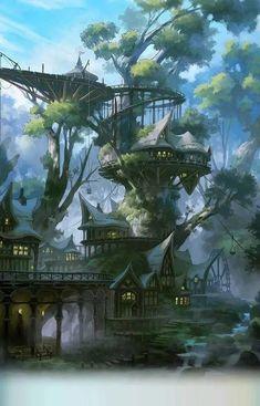 Fantasy City, Fantasy Forest, 3d Fantasy, Fantasy Kunst, Fantasy House, Fantasy Places, Fantasy World, Fantasy Village, Fantasy Trees