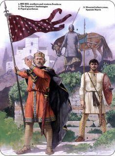Charlemagne c.800s AD- CHARLEMAGNE 4) BIOGRAPHIE. 4.4 CONDITIONS DE L'EXPENSION 4.4.3: ARMEE ET GUERRE A L'EPOQUE DE CHARLEMAGNE, 2: De fait sur les 46 années du règne de Charlemagne, on ne trouve que 2 années où il n'y ait pas eu de convocation de l'armée (790 et 807). Les historiens estiment les effectifs potentiellement mobilisables de 10 000 à 40 000 hommes.