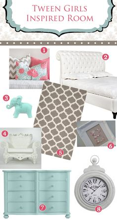 Tween Girls Bedroom Inspiration!!  Coral & Turquoise  By Ellie Bean Design Blog