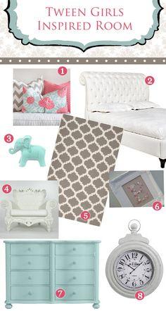 Tween Girls Bedroom Inspiration!! Coral & Turquoise By Ellie Bean Design Blog
