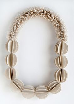 Kiff Slemmons, United States, Necklace - Tufted Melons, cotton, agave, handmade paper, 2010-11