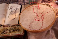 WIP hare embroidery by Alicia Sivertsson, 2014.