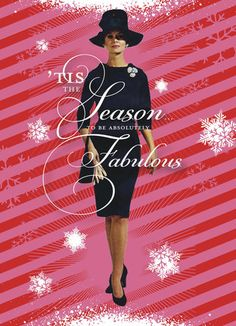 "Season to be Fabulous - O+D - Funny Christmas Card. Pink and red stripes are dotted with white snowflakes in this vintage-inspired card that declares that 'tis the season to be fabulous. Add an equally funny message inside to share a smile this Christmas season. 5"" x 7"" Folded Card. Price: $2.99"