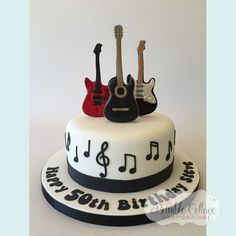 Bumble Cottage Cakes - Gallery of Birthday Cakes Guitar Birthday Cakes, 25th Birthday Cakes, Guitar Cake, Music Themed Cakes, Music Cakes, Rock Star Cakes, Bolo Musical, Cake Land, 30 Cake