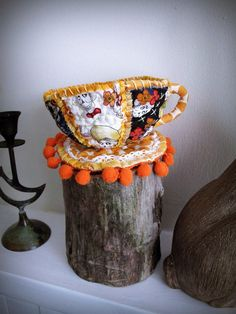 Day of the Dead Fabric Teacup