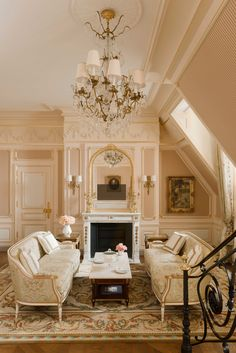 Another view of the César Ritz suite shows its pink palate.
