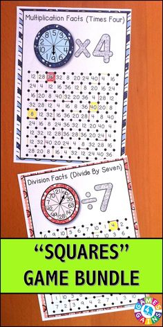 """Multiplication and Division """"Squares"""" Games Bundle contains our """"Multiplication Squares"""" Game and our """"Division Squares"""" Game for 10% off their individual prices. When you buy this bundle, you'll receive 27 fun and engaging games to help students practice their multiplication and division facts. $"""