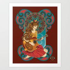 Acoustic Girl Art Print by Jill Sanders Illustration - $16.00