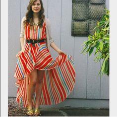 NWT Charming Charlie. Striped high low dress. Charming Charlie. Striped high low dress with slit. Size Small. Charming Charlie Dresses High Low