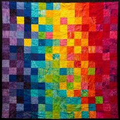 quilt idea to turn into a crochet blanket Rainbow Quilt, Rainbow Art, Modern Crochet Blanket, Charm Quilt, Crazy Patchwork, Manta Crochet, Knitted Blankets, Knitted Cushions, Quilting For Beginners
