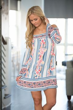 Hear The Music Off The Shoulder Dress White - The Pink Lily