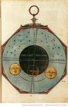 Disque illustrant l'éclipse partielle de la lune du 15 novembre 1500, illustrations de Astronomicum caesareum, Petrus Apianus, 1540